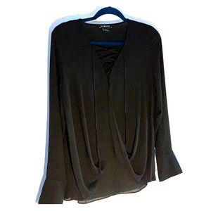 Trouvé Black V Neck Tie Blouse